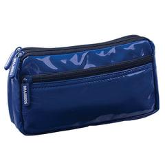 Пенал-косметичка BRAUBERG, под глянцевую кожу, синий, 2 отделения, 1 карман, «Милан», 20×10×4 см