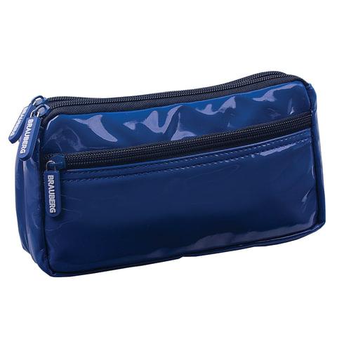 Пенал-косметичка BRAUBERG (БРАУБЕРГ), под глянцевую кожу, синий, 2 отделения, 1 карман, «Милан», 20×10×4 см