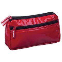 Пенал-косметичка BRAUBERG,под глянцевую кожу, красный, 2 отделения, 1 карман, «Милан», 20×10×4 см