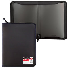 Папка на молнии пластиковая BRAUBERG «Стандарт», стандартная фактура, А4, 325×230 мм, матовая, черная