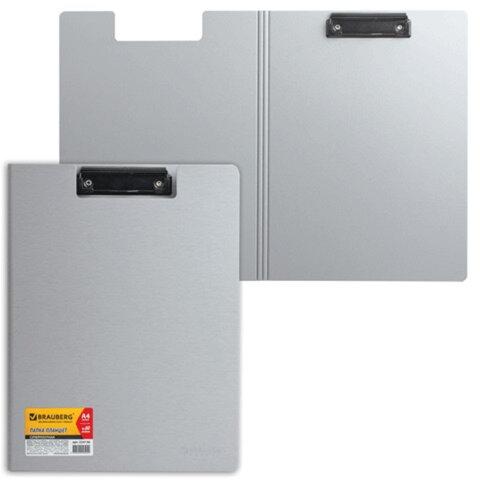 Папка-планшет BRAUBERG (БРАУБЕРГ), суперплотная 2 мм, полифом, с верхним прижимом и крышкой, А4, серебристая, до 80 л.