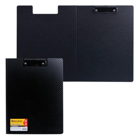 Папка-планшет BRAUBERG (БРАУБЕРГ), суперплотная 2 мм, полифом, с верхним прижимом и крышкой, А4, черная, до 80 л.