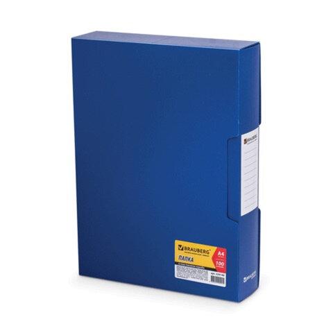Папка 100 вкладышей BRAUBERG «Business» (БРАУБЕРГ «Бизнес»), синяя, 0,8 мм, в пластиковом коробе