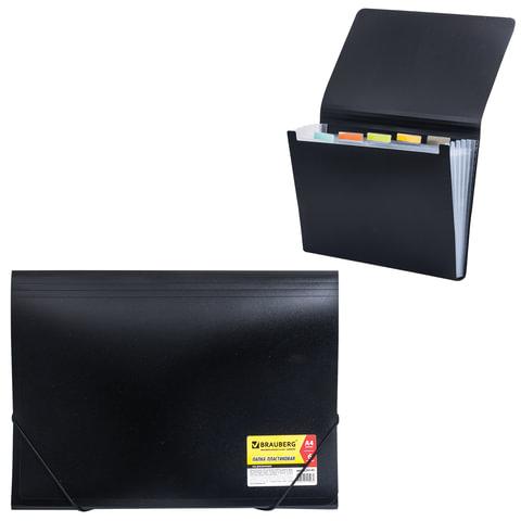 Папка на резинках BRAUBERG «Business» (БРАУБЕРГ «Бизнес»), А4, 6 отделений, пластиковый индекс, черная, 0,5 мм