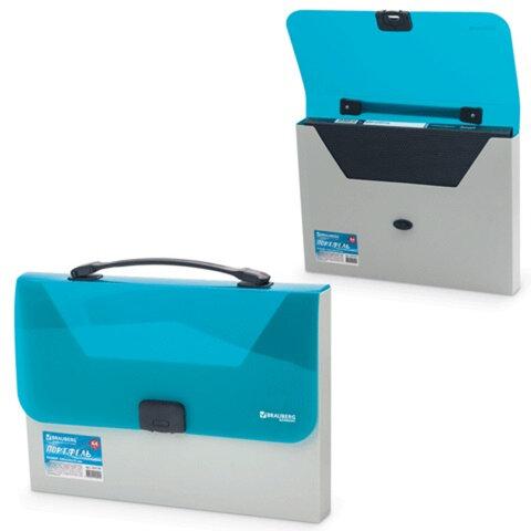 Портфель пластиковый BRAUBERG «Income» (БРАУБЕРГ «Инком»), А4, 350×235×35 мм, без отделений, бежевый/<wbr/>бирюзовый