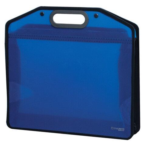 Сумка пластиковая BRAUBERG «Income» (БРАУБЕРГ «Инком»), А4, 370×340×110 мм, без отделений, тонированная, синяя