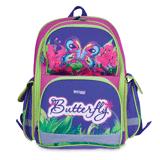 Ранец жесткокаркасный BRAUBERG (БРАУБЕРГ) для учениц начальной школы, 20 л, сиренево-розовый, бабочка, 39×30×16 см