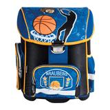 Ранец жесткокаркасный BRAUBERG (БРАУБЕРГ) для учеников начальной школы, 20 л, сине-оранжевый, баскетбол, 37×30×16 см
