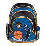 Рюкзак BRAUBERG (БРАУБЕРГ) для учеников начальной школы, 19 л, синий/<wbr/>оранжевый, баскетбол, 39×29×14 см