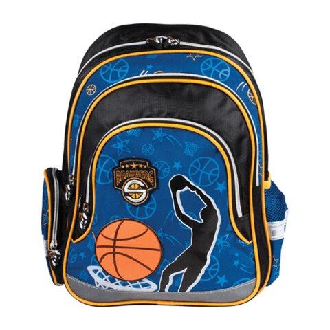 Рюкзак BRAUBERG (БРАУБЕРГ) для учеников начальной школы, сине-черный, «Баскетбол», 20 литров, 39×29×14 см