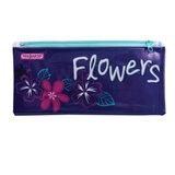 Пенал-косметичка ПИФАГОР для учениц начальной школы, фиолетово-розовый, «Цветок», ПВХ, 23×10 см