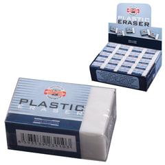 Резинка стирательная KOH-I-NOOR, прямоугольная, 30×18×12 мм, белая, картонный держатель, картонный дисплей