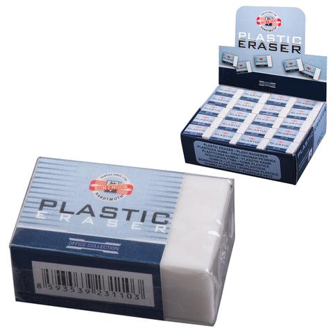 Резинка стирательная KOH-I-NOOR прямоугольная, 30×18×12 мм, белая, картонный держатель, картонный дисплей