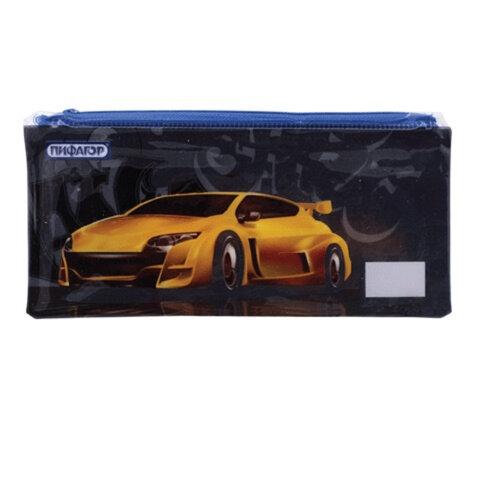 Пенал-косметичка ПИФАГОР для учеников начальной школы, черно-синий, «Желтая машина», ПВХ, 23×10 см