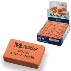 Резинка стирательная KOH-I-NOOR «Mondeluz», прямоугольная, 31×21×7 мм, оранжевая, картонный дисплей