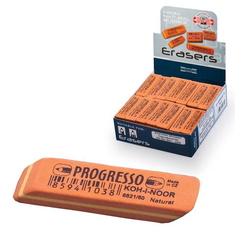 Резинка стирательная KOH-I-NOOR «Progresso», прямоугольная, скошенные углы, 52×14×8 мм, оранжевая, картонный дисплей