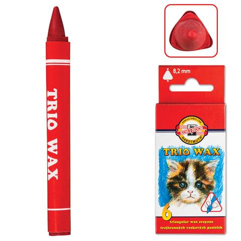 """Восковые мелки KOH-I-NOOR """"Trio Wax"""", 6 цветов, трехгранные, картонная упаковка с европодвесом"""