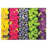 Папка-конверт с кнопкой и рисунком BRAUBERG (БРАУБЕРГ), А4, пластиковая, цветная печать, универсальная, фрукты