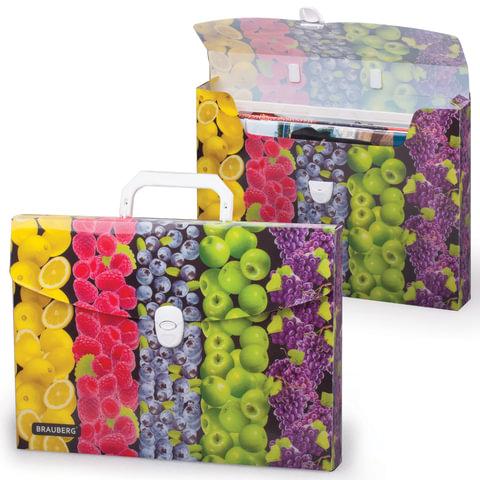 Портфель пластиковый BRAUBERG (БРАУБЕРГ), А4, 336×246×40 мм, разборный, с фурнитурой, универсальный, фрукты