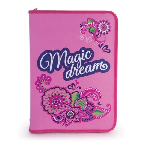 Папка для труда BRAUBERG (БРАУБЕРГ), А4, пластик, молния вокруг, цветная печать, для девочек, «Мечта»