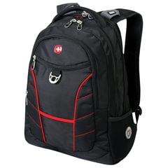 Рюкзак WENGER (Швейцария), черный, красные полосы, 30 литров, 35×20×47 см