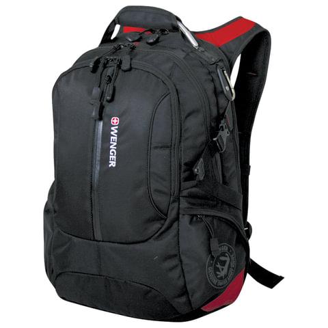 Рюкзак WENGER (Швейцария), универсальный, черный, красные вставки, 30 литров, 35х20х47 см