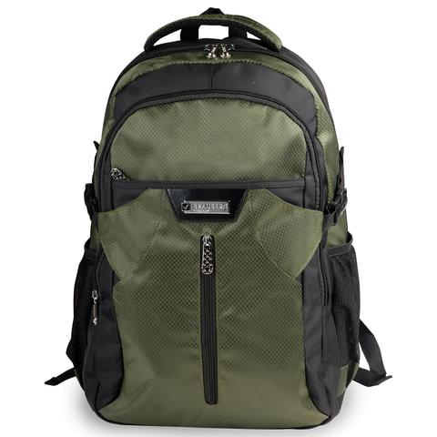 Рюкзак для школы и офиса BRAUBERG «StreetRacer 2» (БРАУБЕРГ «Стритрейсер»), 30 л, размер 48×34×18 см, ткань, черно-зеленый