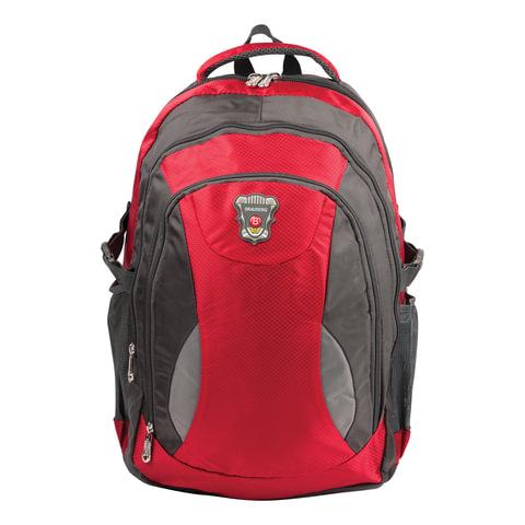 """Рюкзак для школы и офиса BRAUBERG """"StreetBall 1"""", 30 л, размер 48х34х18 см, ткань, серо-красный"""
