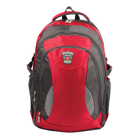Рюкзак для школы и офиса BRAUBERG «StreetBall 1» (БРАУБЕРГ «Стритбол»), 30 л, размер 48×34×18 см, ткань, серо-красный