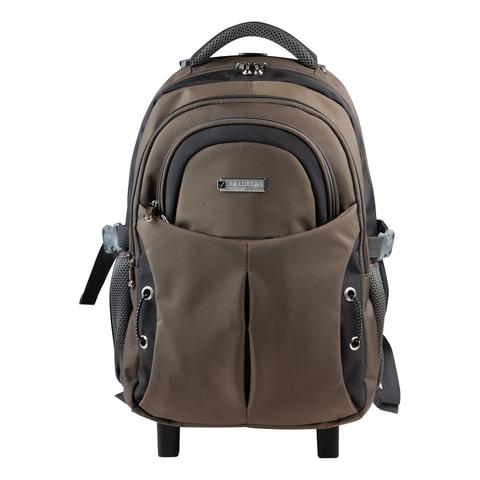 Рюкзак для школы и офиса BRAUBERG «Jax 1» (БРАУБЕРГ «Джекс»), 30 л, размер 43×33×23 см, ткань, на колесах, черно-коричневый