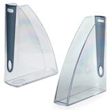 Лоток вертикальный для бумаг LEITZ «Allura», ширина 75 мм, прозрачный, дымчатая вставка