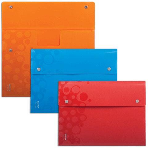 Папка-конверт с кнопкой непрозрачная LEITZ «Bebop», комплект 3 шт., А4, цвет ассорти, 120 листов, 0,20 мм