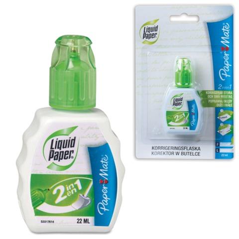 Корректирующая жидкость PAPER MATE «Liquid Paper 2 in 1», 22 мл, ручка+губка, блистер