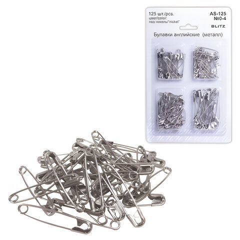 Булавки английские BLITZ, набор 125 шт., размер 0-4, никелированные, блистер