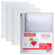Папки-файлы перфорированные, А4, ОФИСМАГ, комплект 100 шт., гладкие, «Яблоко», 0,038 мм
