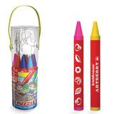 Набор для творчества ERICH KRAUSE «Artberry»: 12 утолщенных восковых карандашей + 3 пазла, пластиковый тубус с ручкой