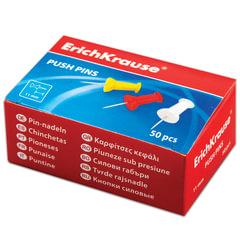 Силовые кнопки-гвоздики ERICH KRAUSE, цветные, 50 шт., в картонной коробке