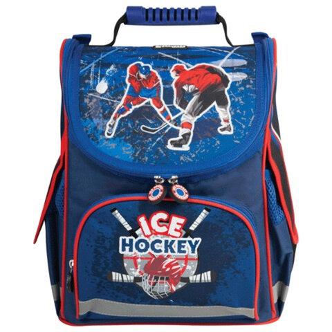 Ранец жесткокаркасный BRAUBERG (БРАУБЕРГ) для учеников начальной школы, «Хоккей», 17 литров, 34×26×14 см