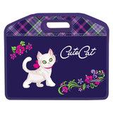 Сумка пластиковая BRAUBERG (БРАУБЕРГ), A4, на молнии, цветная печать, для девочек, кошка, 37×30 см