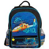 Рюкзак ПИФАГОР для учеников начальной школы, 19 л, черный/<wbr/>синий, вертолет, 38×30×14 см