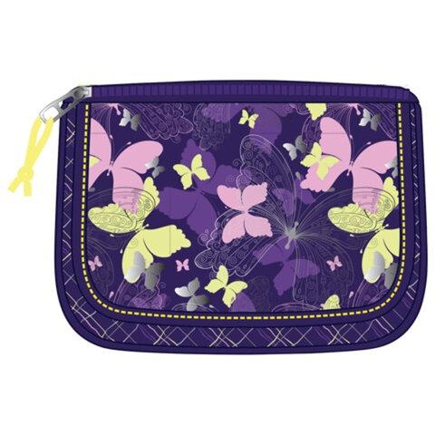 Пенал-косметичка ERICH KRAUSE для учениц средней школы, фиолетово-желтый, бабочки, 20×14×6 см