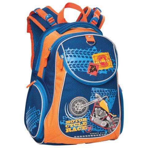 """Рюкзак ERICH KRAUSE для учеников начальной школы, 20 л, синий/оранжевый, """"Мотоцикл"""", 38х28х14 см"""