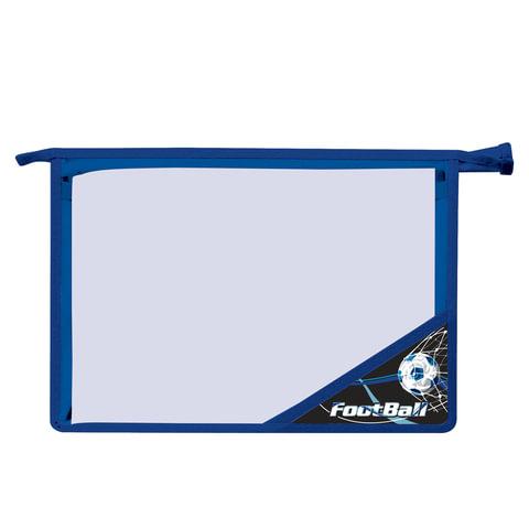 Папка для тетрадей BRAUBERG, А4, пластик, молния сверху, цветной уголок, для мальчиков, черно-синяя, футбол