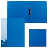 Папка на 2 кольцах БЮРОКРАТ, 40 мм, синяя, внутренний карман, до 250 листов, 0,8 мм