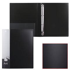 Папка на 4 кольцах БЮРОКРАТ, 27 мм, черная, внутренний карман, до 150 листов, 0,7 мм