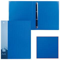 Папка на 4 кольцах БЮРОКРАТ, 27 мм, синяя, внутренний карман, до 150 листов, 0,7 мм