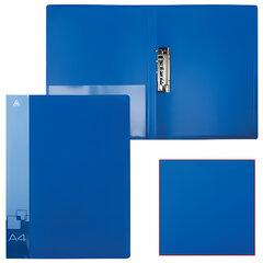 Папка с боковым металлическим прижимом и внутренним карманом БЮРОКРАТ, синяя, до 100 листов, 0,7 мм