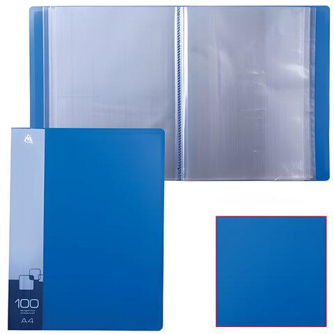 Папка 100 вкладышей БЮРОКРАТ, синяя, 0,8 мм