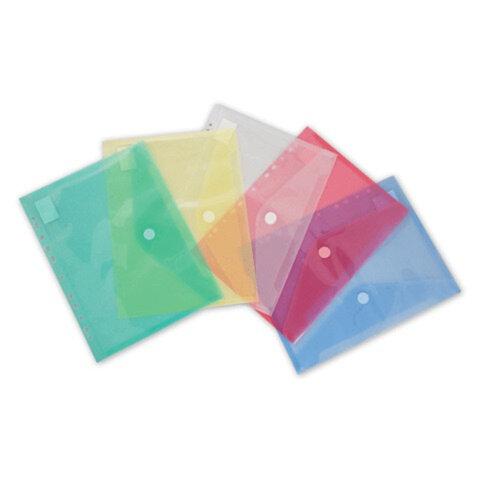 Папка-конверт с кнопкой БЮРОКРАТ, А4, прозрачная с перфорацией, 0,18 мм