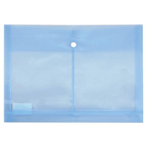Папка-конверт с кнопкой БЮРОКРАТ, А4, синяя, с расширением до 250 л., 0,18 мм